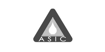 Photo of ASIC logo in black and white.