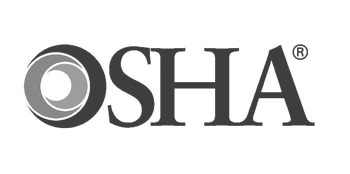 Photo of OSHA's logo in black and white.