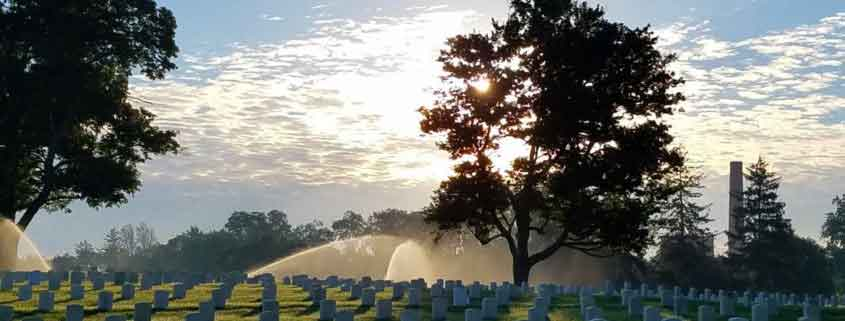 Photo of Dayton National Cemetery after Commercial Irrigation installed their irrigation system.
