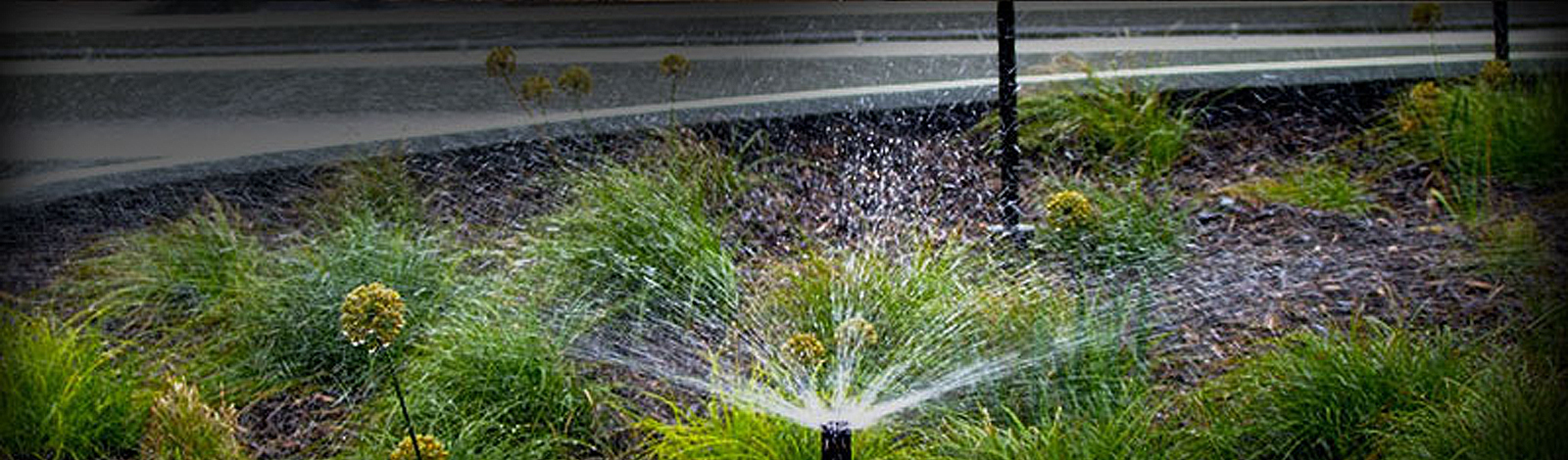 Photo of an irrigation system in a commercial setting.