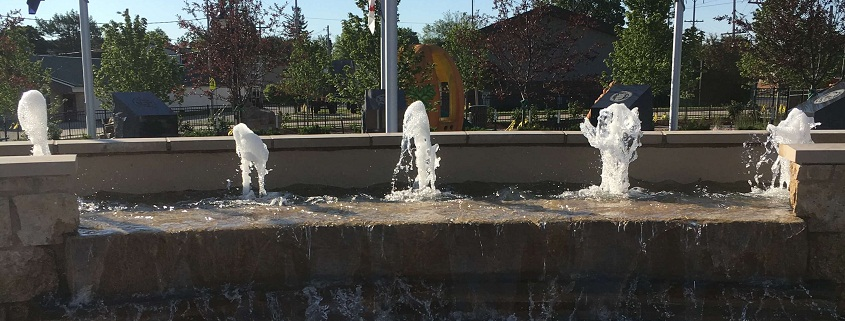 Photo of the water feature on Morton Memorial Plaza.