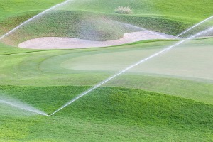 sprinkler system in Bloomington IL watering a golf course