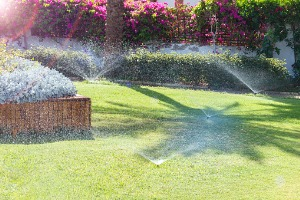 A back yard with beautiful gardents being watered by an Irrigation System in Decatur IL