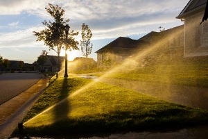 A neighborhood irrigation system functioning after Sprinkler Repair in Decatur IL