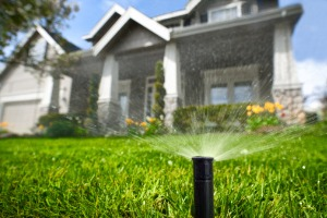 A sprinkler in a front yard, installed by Irrigation Companies in Decatur IL